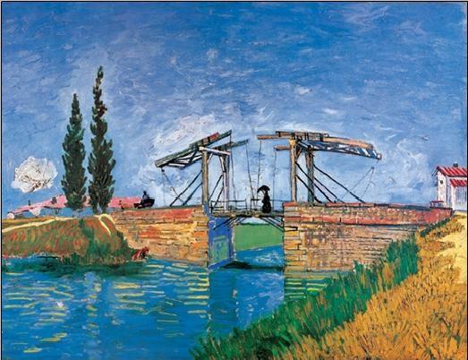 The Langlois Bridge at Arles, 1888 Kunsttryk