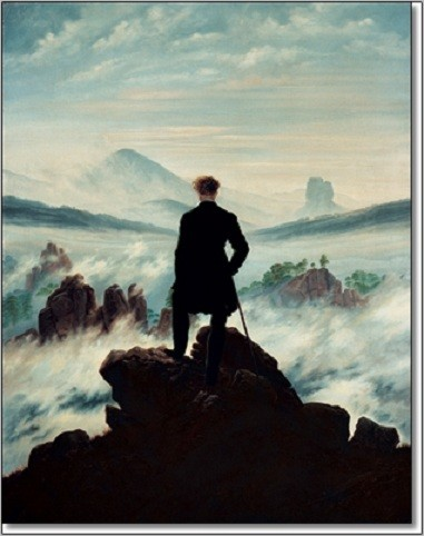 The wanderer above the sea of fog, 1818 Kunsttryk