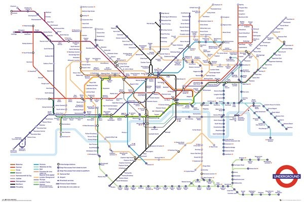 Transport For London Underground Map Plakat Poster Pa