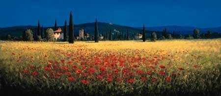 TUSCAN PANORAMA - POPPIES Kunsttryk