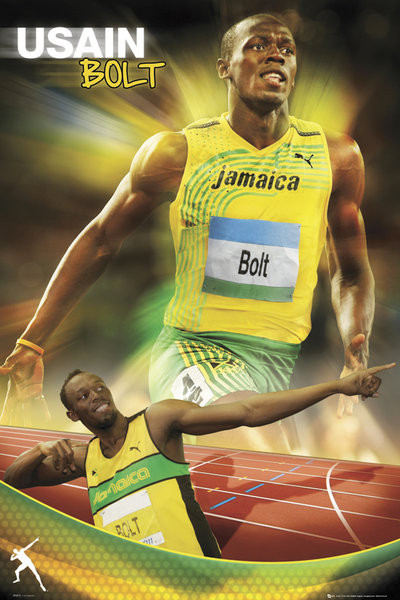 Usain Bolt - gold Plakat