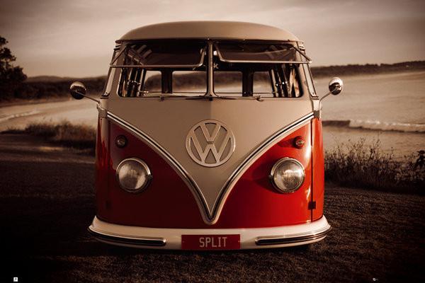 VW Volkswagen - Red kombi Plakater