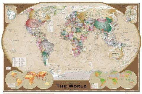 Wereldkaart - Wandkaart Plakat