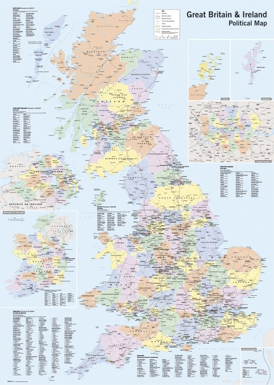 Carte de Grande Bretagne, Angleterre Poster