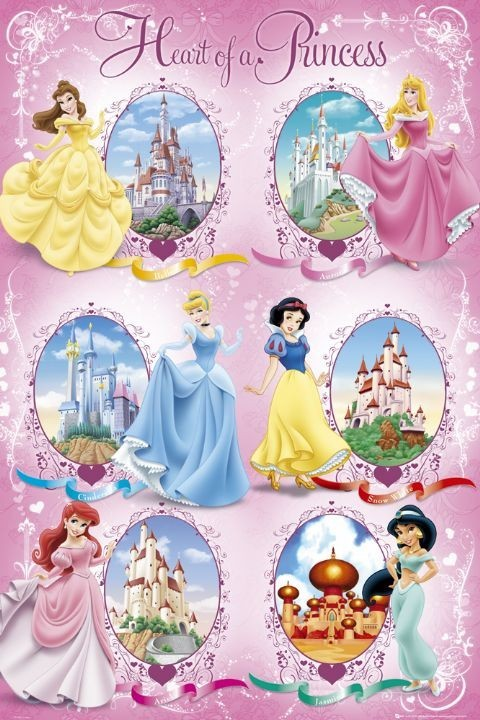 DISNEY PRINCESS - castles Plakat