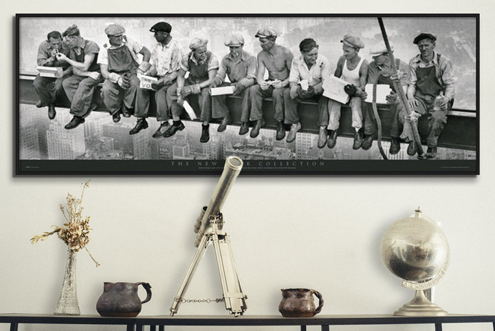 Men on girder Poster
