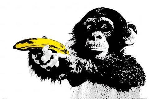 Monkey - banana Plakat