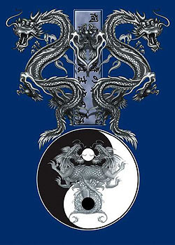 Tao dragons – b&w dragons Poster