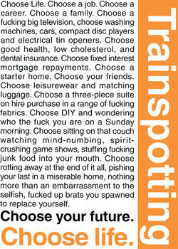 TRAINSPOTTING - choose life Poster