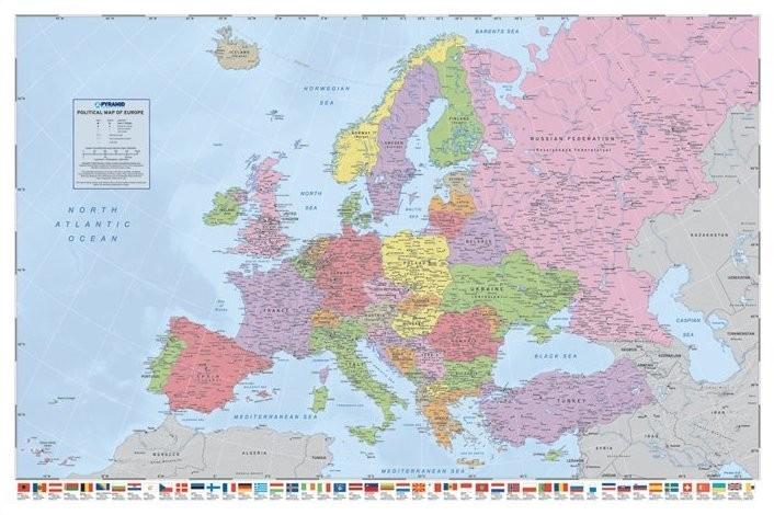 Zemljevid Evrope - Political Poster
