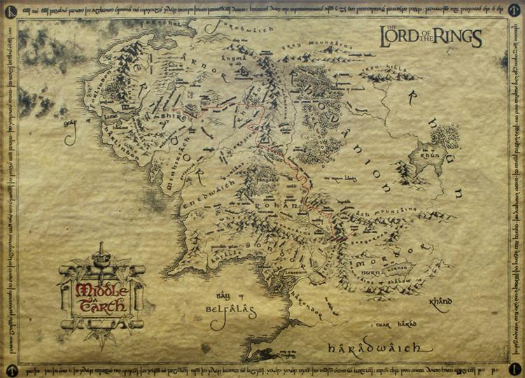 Plakát A Gyűrűk Ura - Középfölde Térképe (special)