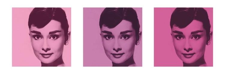 AUDREY HEPBURN - pink triptych plakát