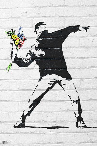 Banksy street art - Graffiti Throwing Flow Plakát
