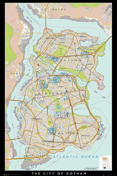 Batman Begins - Gotham Map Plakát