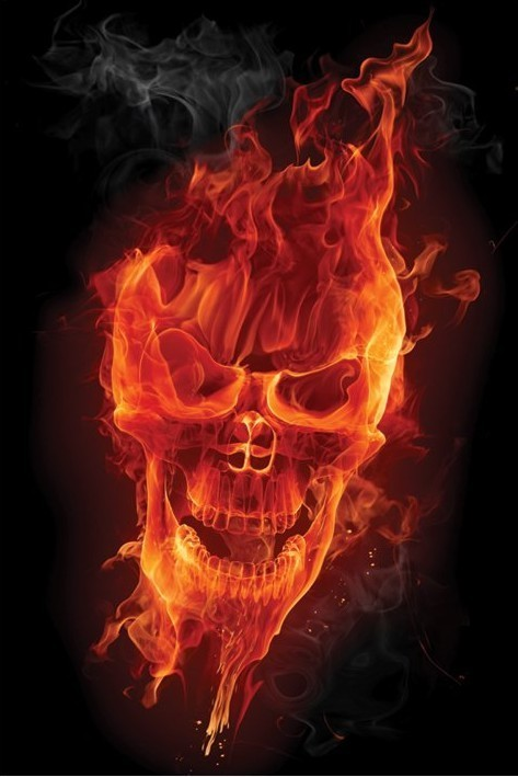 Flamig skull Plakát