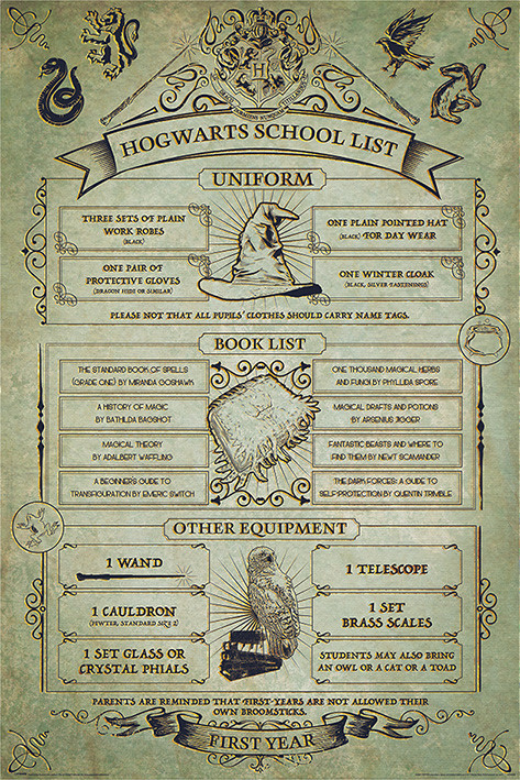 Harry Potter - Hogwarts School List Plakát