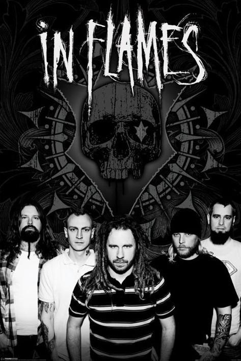 In Flames - b and w group Plakát