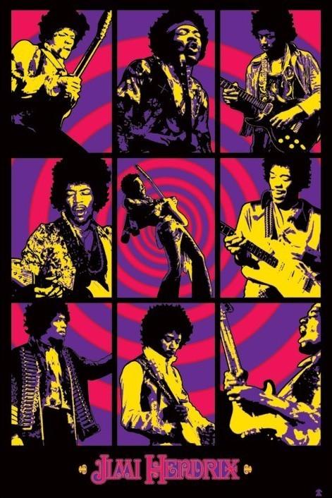 Jimi Hendrix - purple montage Plakát