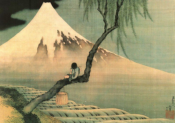 Katsushika Hokusai - mount fuji and fisherboy in a willow tree Plakát