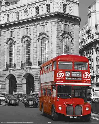 LONDON - red bus Plakát