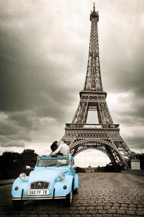 Párizs - romance / sepia Plakát