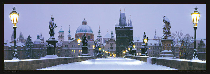 Prague – Charles bridge / snow Plakát