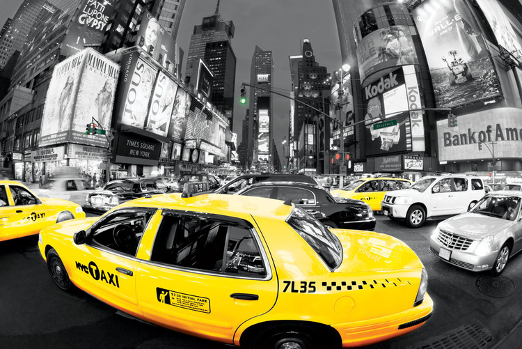 Rush hour Times square - Yellow cabs Plakát