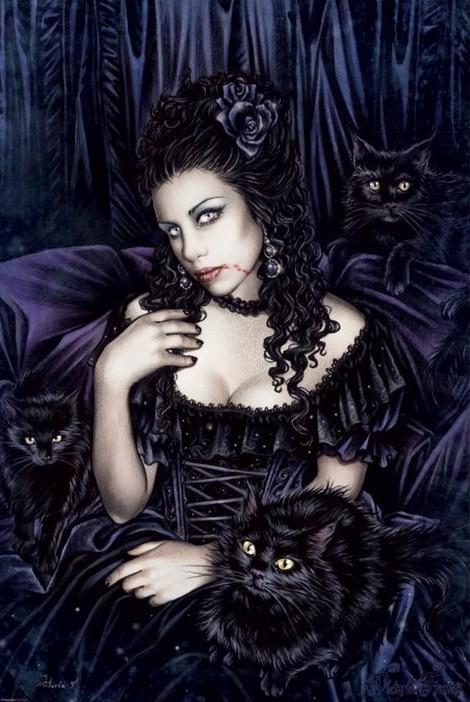 Victoria Frances - black cat Plakát