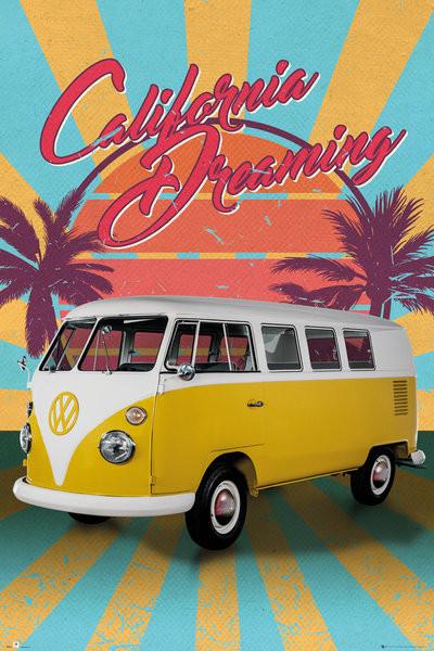 VW Camper - Cali Retro Plakát