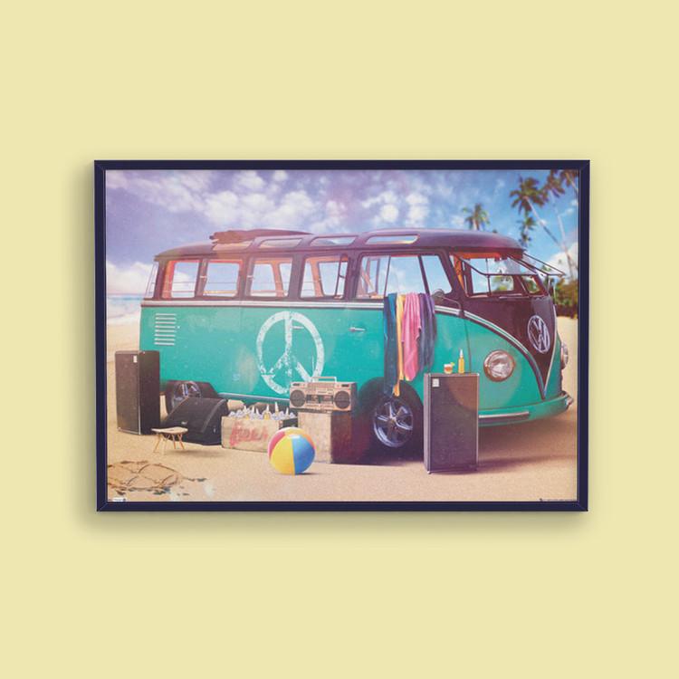 VW Volkswagen Camper - party Plakát