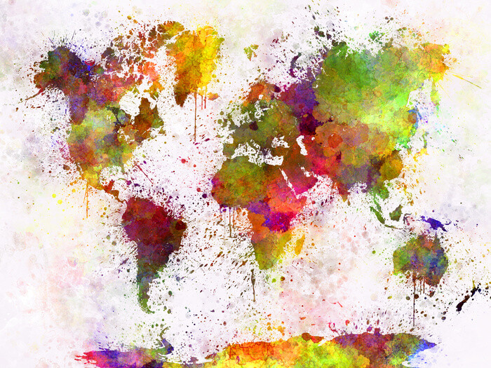 World Map - Watercolour Plakát