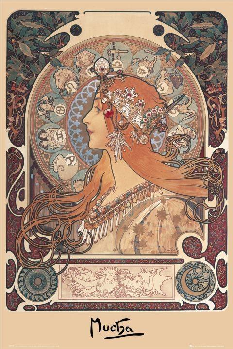 Plakát Alfons Mucha - zodiac
