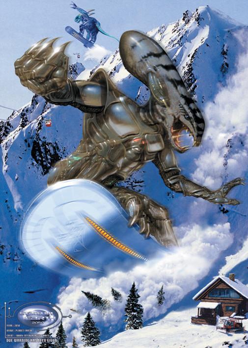 Plakát Alien snowboarder