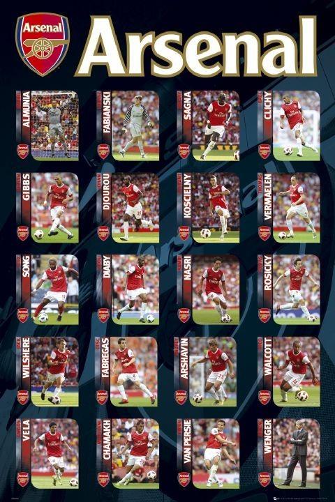 Plakát Arsenal - squad profiles 2010/2011