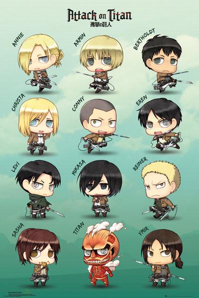 Plakát  Attack on Titan (Shingeki no kyojin) - Chibi Characters