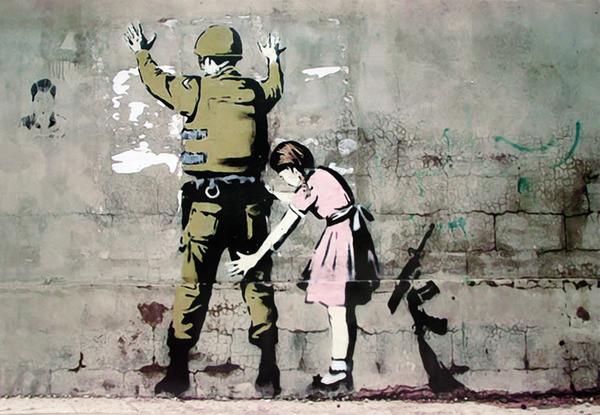 Plakat Banksy street art - Graffiti Soldier and girl