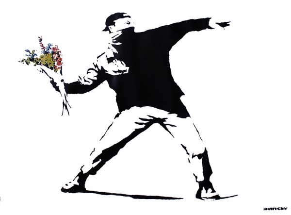 Plakát Banksy street art - graffiti throwing flowers