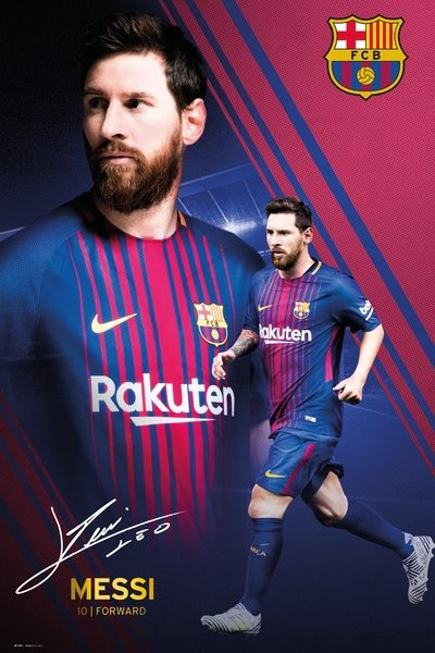 Plakát Barcelona - Messi Collage 17-18