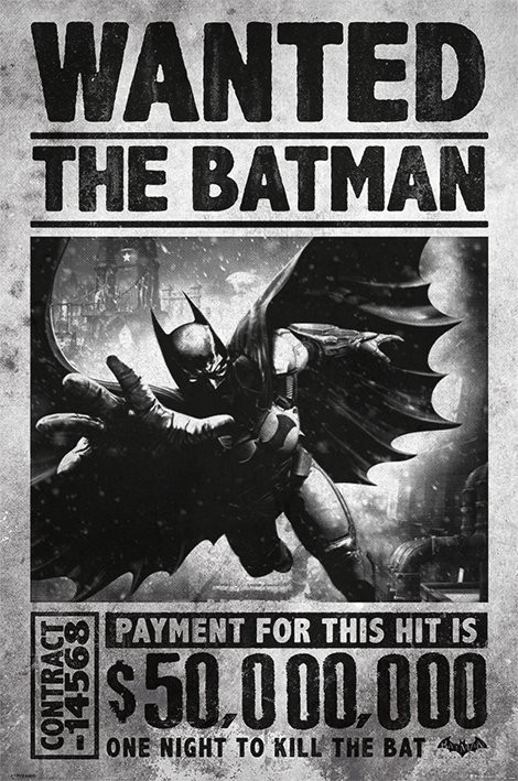 Plakát  BATMAN ARKHAM ORIGINS - wanted