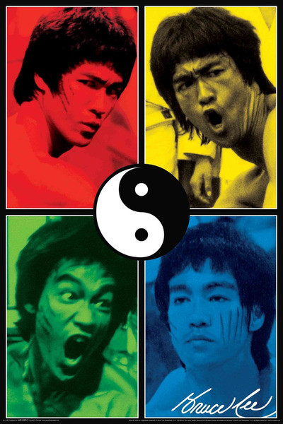 Plakát BRUCE LEE - yin & yang collage