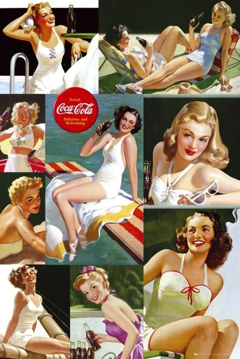 Plakát Coca Cola - girl colour collage