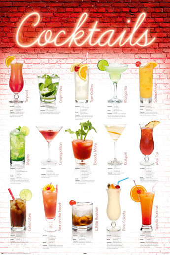 Plakát Coctails - english