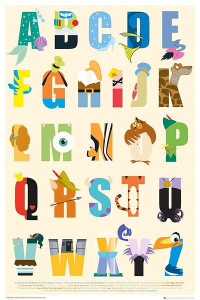 Plakát DISNEY - alphabet