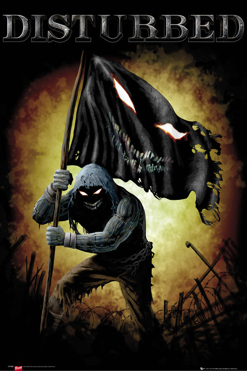 Plakát Disturbed - face flag