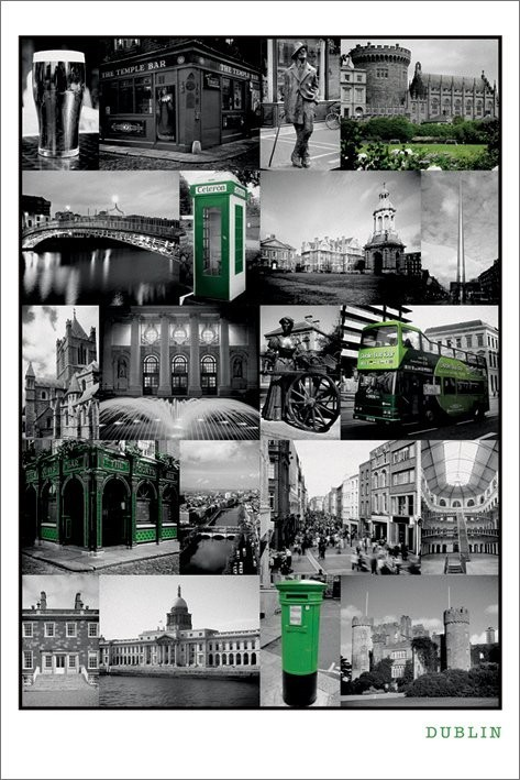 Plakát Dublin - collage