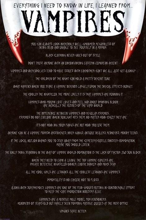 Plakát Everything I need to know - co bychom měli vědět o upírech