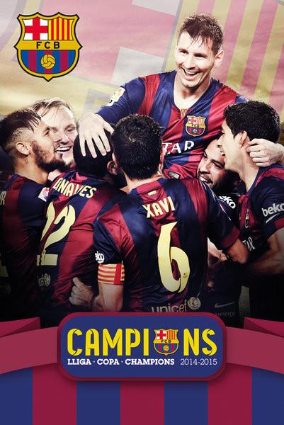 Plakát FC Barcelona - Triple Champions 15