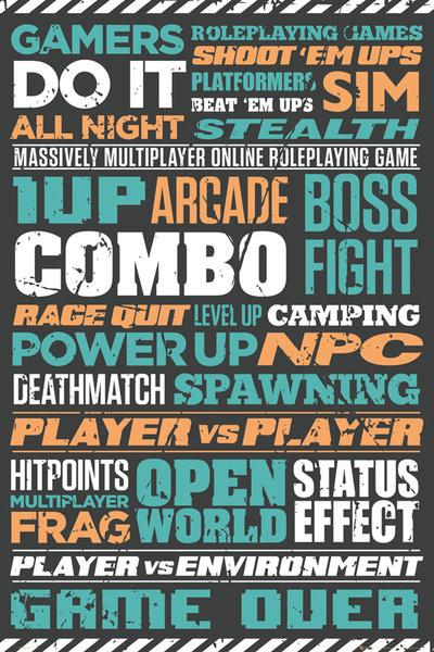 Plakát Gaming - Typographic