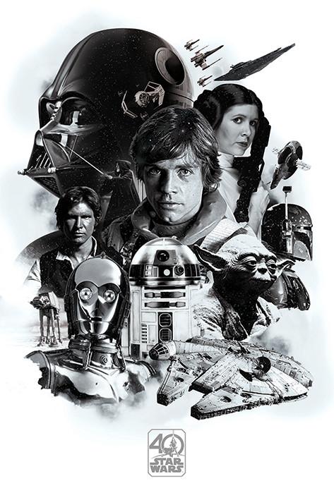 Plakat Gwiezdne wojny - Montage (40th Anniversary )