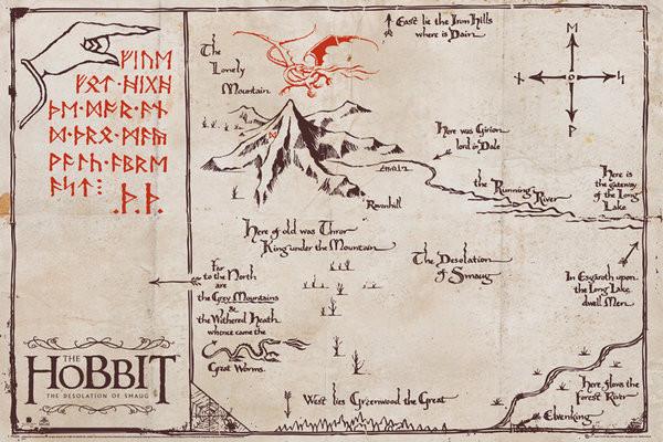 Plakát Hobit - mapa osamělé hory